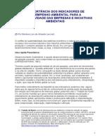 A IMPORTÂNCIA DOS INDICADORES DE DESEMPENHO AMBIENTAL