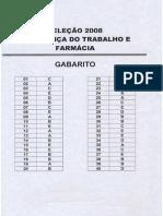 Gabarito - Processo Seletivo 2008 - Tecnicos Subsequentes