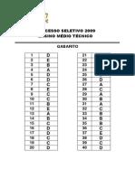 Gabarito ProSel 2009 - Ensino Medio e Tecnicos Concomitantes