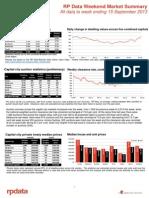 RP Data Weekend Market Summary WE 13 Sept 2013