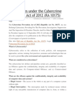 Cybercrimes Under the Cybercrime Prevention Act of 2012
