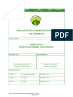 Manual de Usuario PM-039 Lista de Materiales Para Equipos