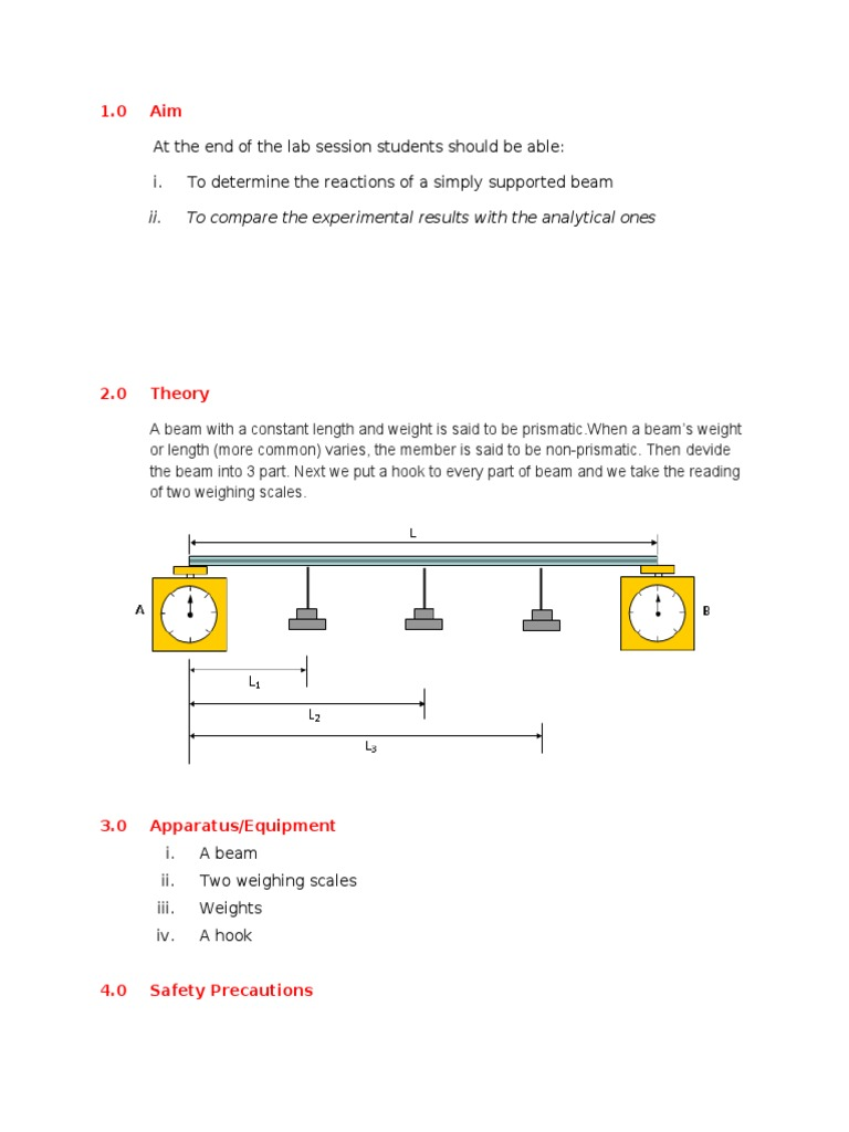lab manual on reactions of simply supported beams The apparatus to be used in this experiment consists of a simple beam  a  cantilevered beam, figure 5 shows a simply supported beam, and.