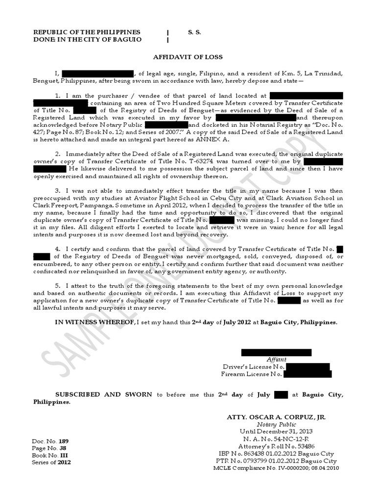 Sample Affidavit Of Lost Title | Notary Public | Civil Law (Common Law)