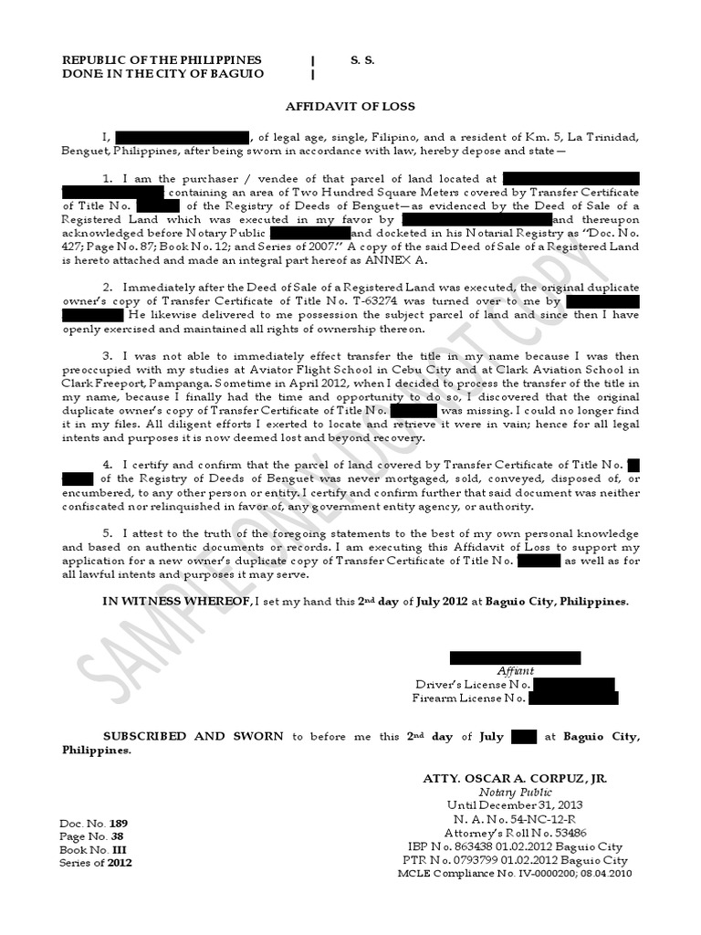 Sample Affidavit of Lost Title | Notary Public | Civil Law (Common Law)