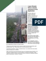 López Obrador llama a marcha nacional el 22 de septiembre