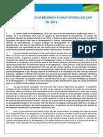 Communiqué de la Réunion à Haut Niveau du CAD de 2012