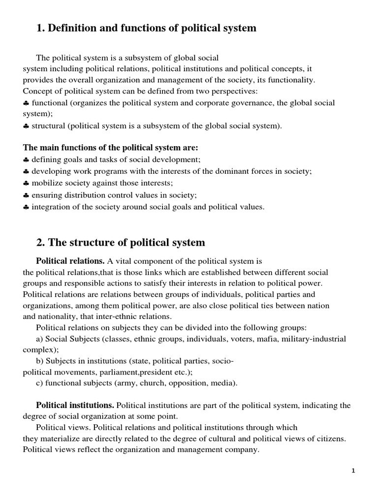 The political system of society: the concept, structure, classification 80