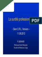 La surdité professionnelle (11.09.2013)