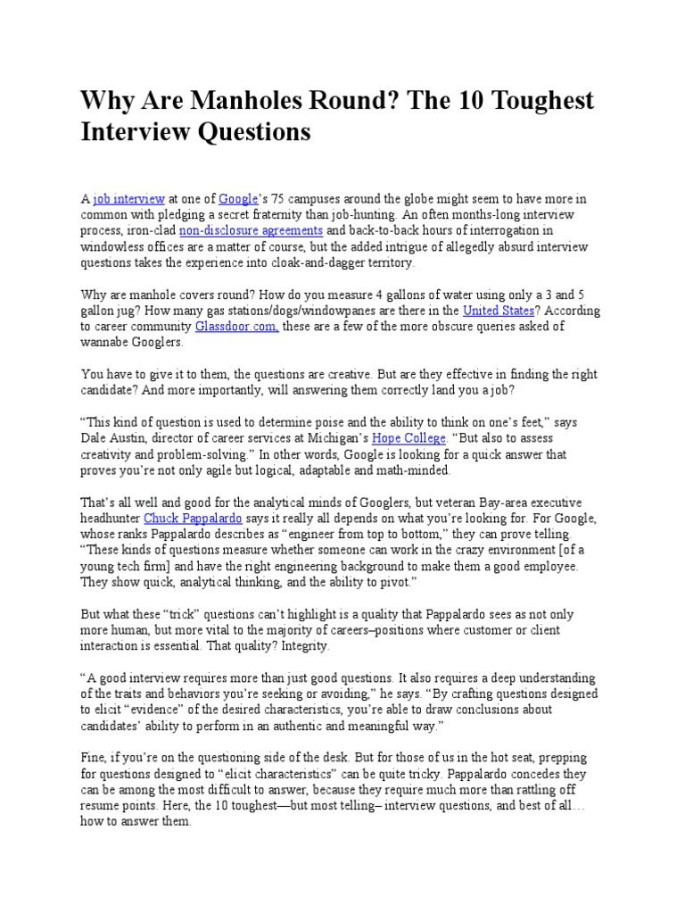 10 Toughest Interview Questions | Job Interview | Psychological Concepts  Funny Fraternity . ...