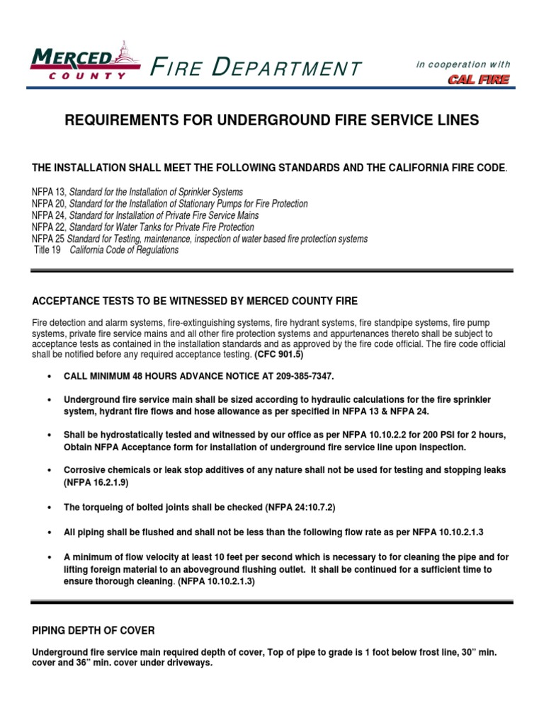 Requirements for Underground Fire Service Lines – Fire Service Application Form