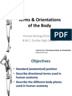 Terms and Orientations of the Body