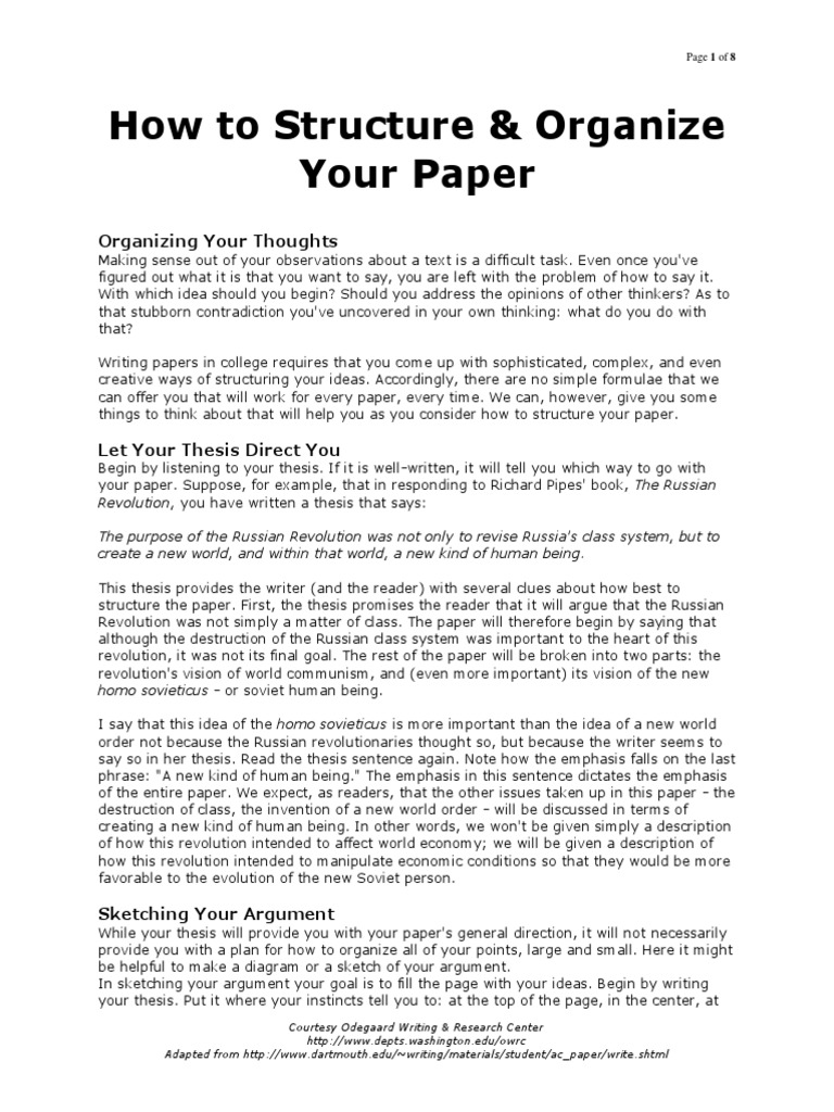 How to Organize Your Thoughts on Paper recommendations