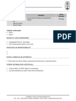 CV Format Freshers