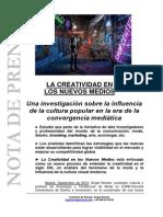 Nota de Prensa. La Creatividad en los Nuevos Medios
