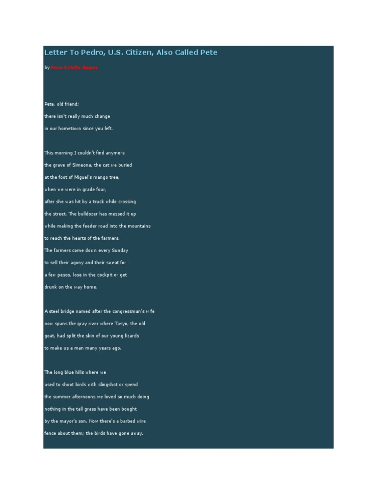 Letter To Pedro A Us Citizen Also Called Pete A Poem Analysis