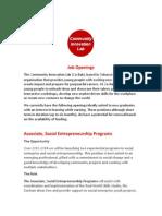 Associate, Social Entrepreneurship Programs