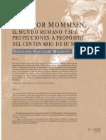 Alejandro Bancalari Molina - Theodor Mommsen El Mundo Romano y Sus Proyecciones a Proposito Del Centenario de Su Muerte