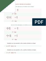Ecuación reducida de la parábola