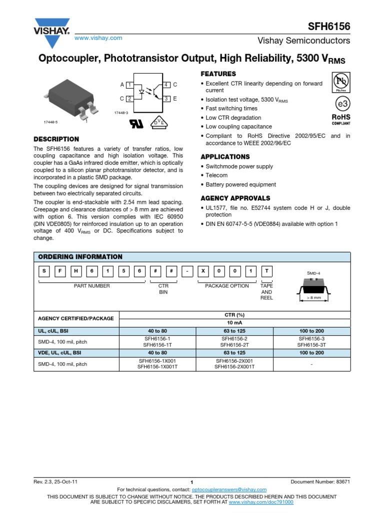 5300VRMS PHOTOTRANSISTOR VISHAY SEMICONDUCTOR SFH6156-3T OPTOCOUPLER