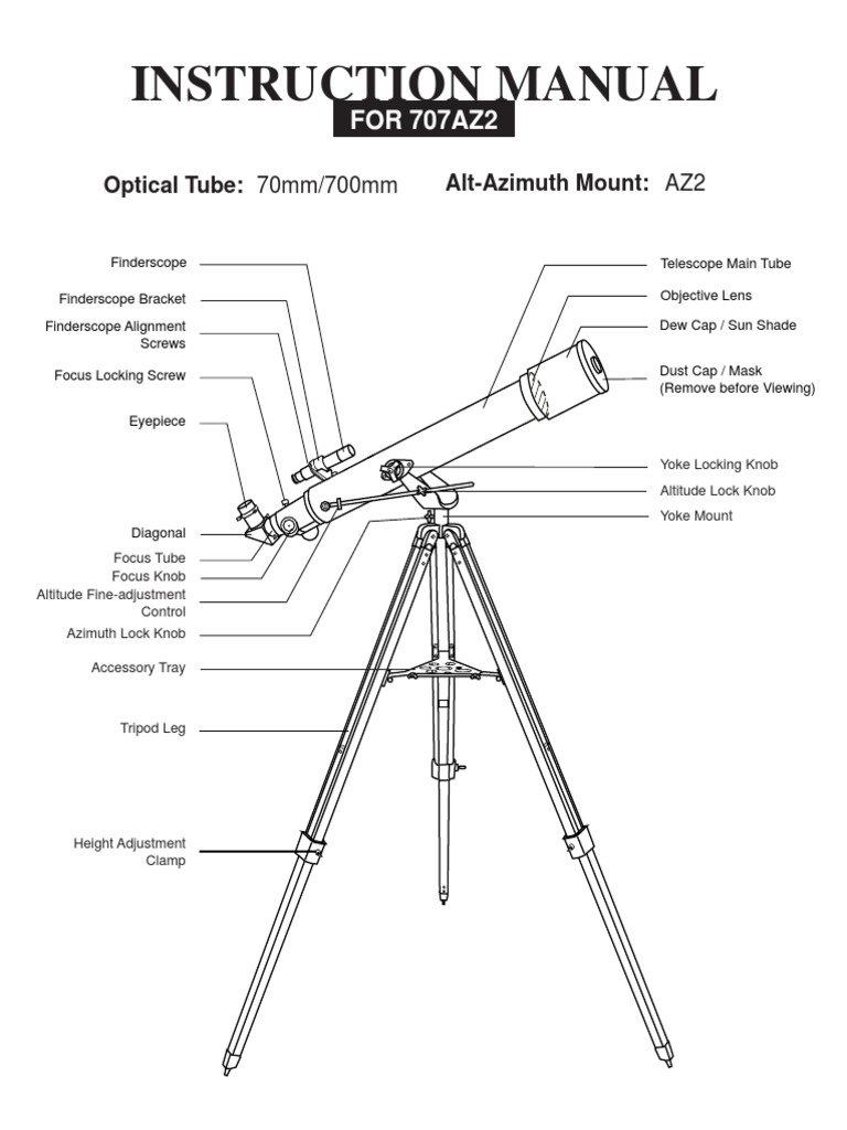 Instruction manual for Saxon telescope model 707AZ2