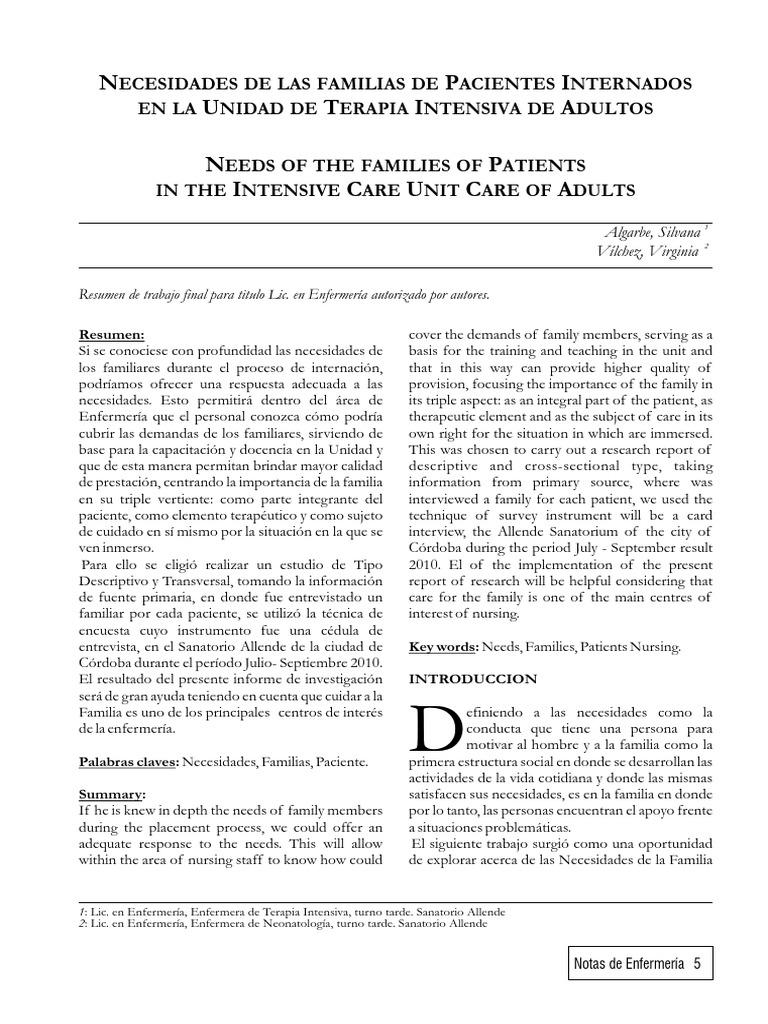 3- Necesidad de Los Familiares de Pacientes Internados