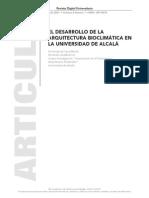 el desarrollo de la arquitectura bioclimática en la universidad de Alcalá