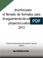 Instructivo Para El Llenado de Formatos Para El Seguimiento de Subsidios a Proyectos Culturales 2013