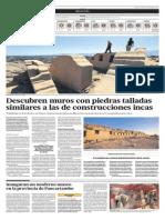 Descubren Muros Con Piedras Talladas Similares a Las Construcciones Incas