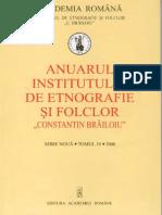 Anuarul Institutului de Etnografie Si Folclor C Brailoiu 2008