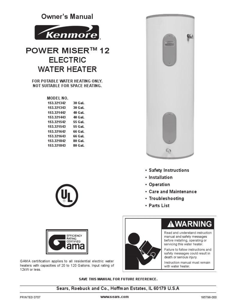 Power Miser 12 Water Heater Manual Heating Thermostat Residential Electric Heaters