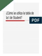 Como Se Utiliza La Tabla t de Student