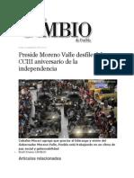 16-09-2013 Diario Matutino Cambio de Puebla - Preside Moreno Valle Desfile Del CCIII Aniversario de La Independencia