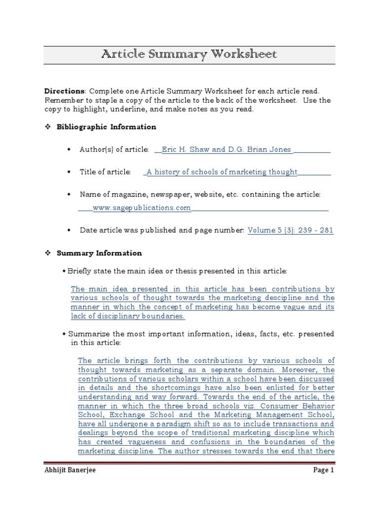 Uncategorized Article Summary Worksheet article summary worksheet smith jones paradigm academic discipline interactions