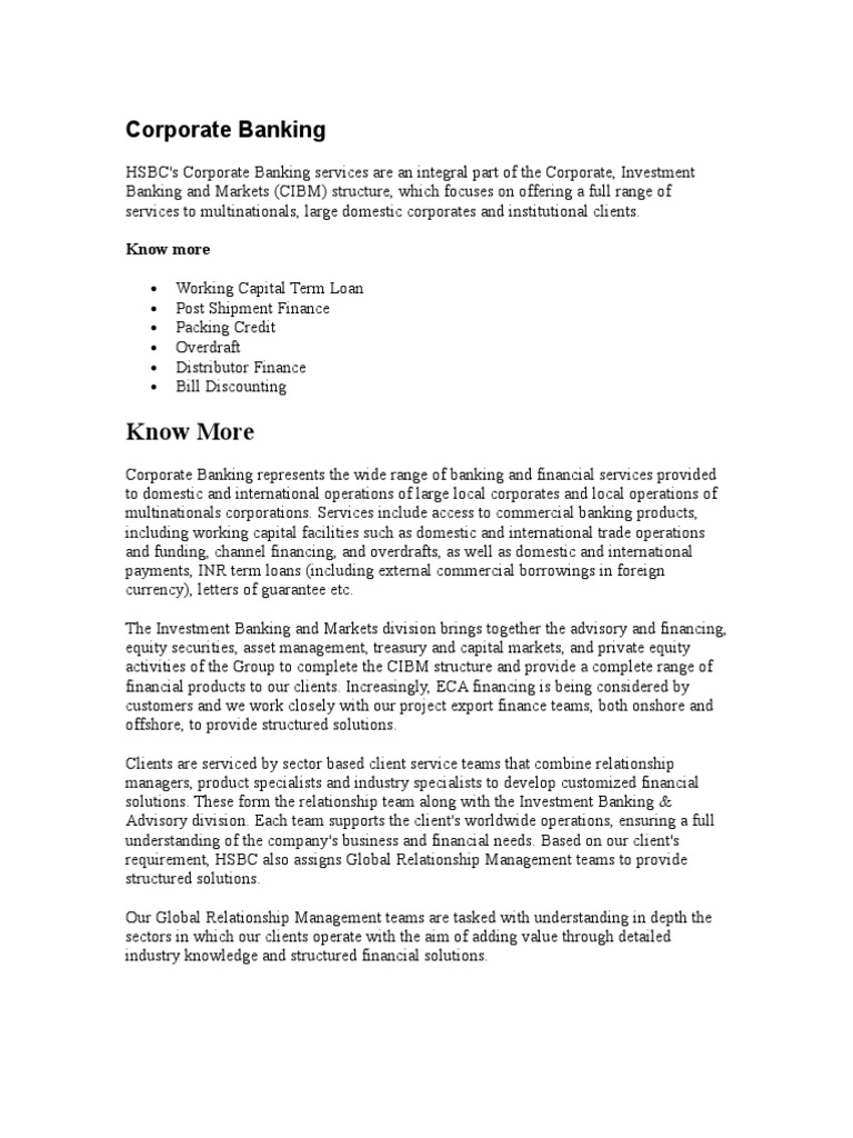 Case Study on Corporate Banking [HSBC] | Cheque | Banks