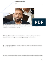 Overseas Pakistanis Are Great Asset of Country Sattar