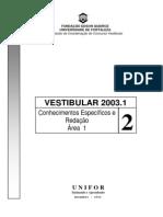 UNIFOR_2003_1º semestre_ProvaEspecífica_I