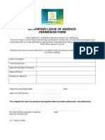 Authorised Absence Permission Form