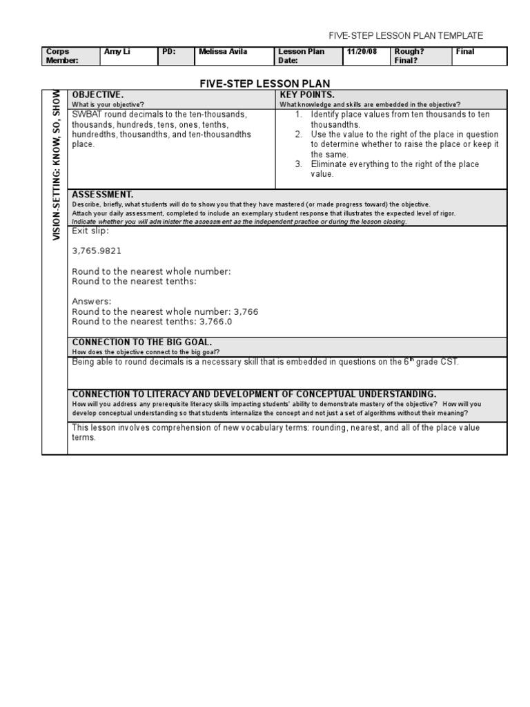 Rounding Decimals Lesson Plan Educational Assessment