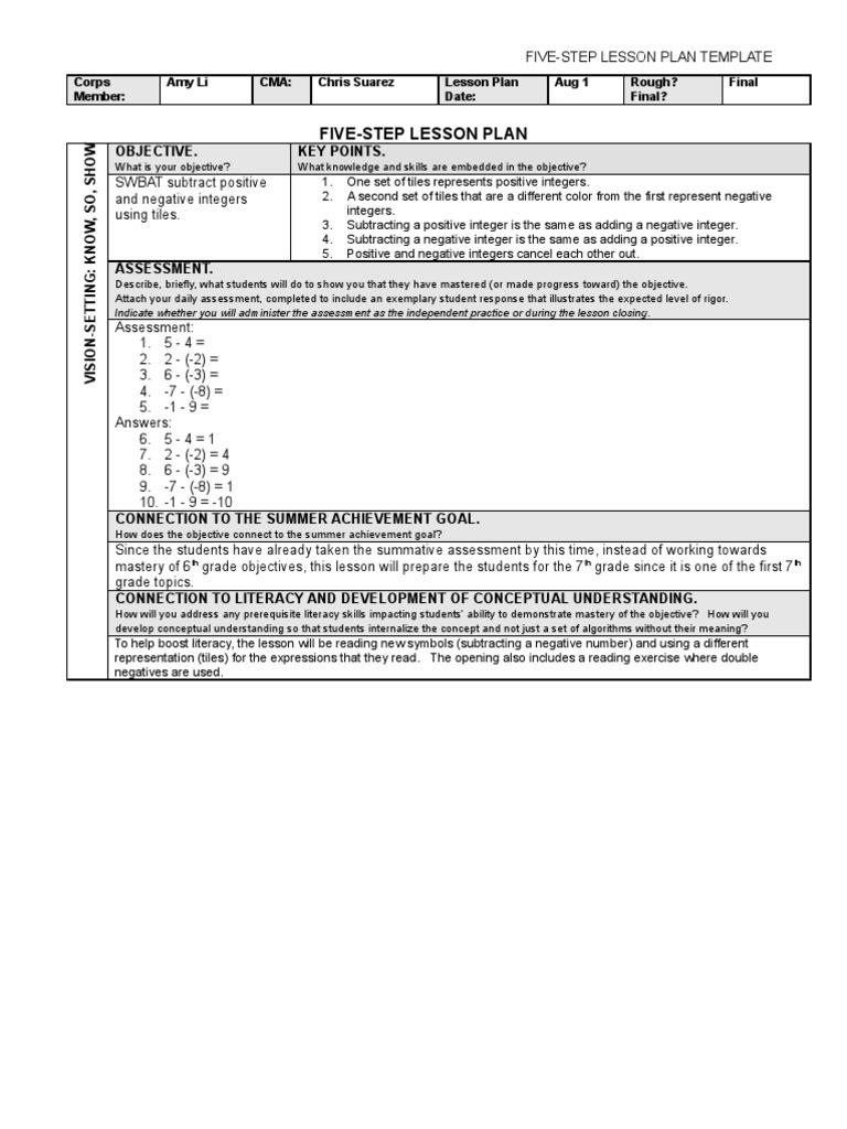 subtracting positive negative integers tile method educational