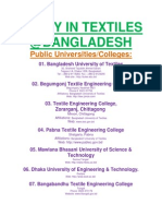 List of Textile Engineering Universities/Colleges of Bangladesh