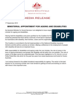 Senator Mitch Fifield Ministerial Appointment for Ageing and Disabilities