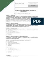 PUCP, Reglamento de la Facultad de Ciencias y Artes de la Comunicacion