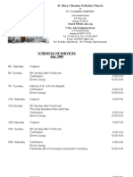 SCHEDULE OF SERVICES - JULY, 2009