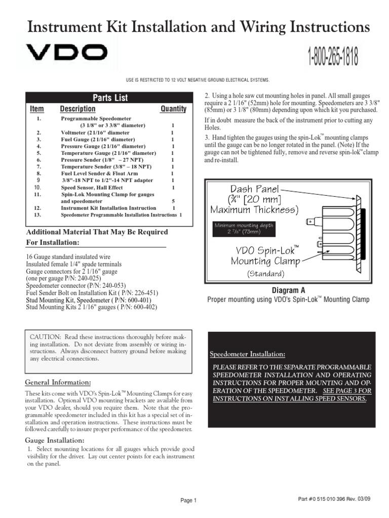 vdo gauge wiring diagram voltage vdo gauge installation electrical wiring components  vdo gauge installation electrical