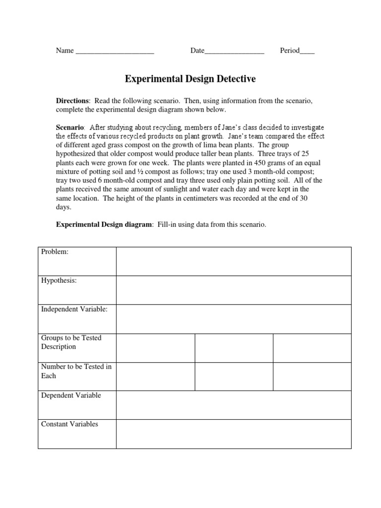 Experimental Design Detective and Variables Practice Worksheets – Experimental Design Worksheet
