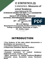 2.Descriptive Statistics-measures of Central Tendency
