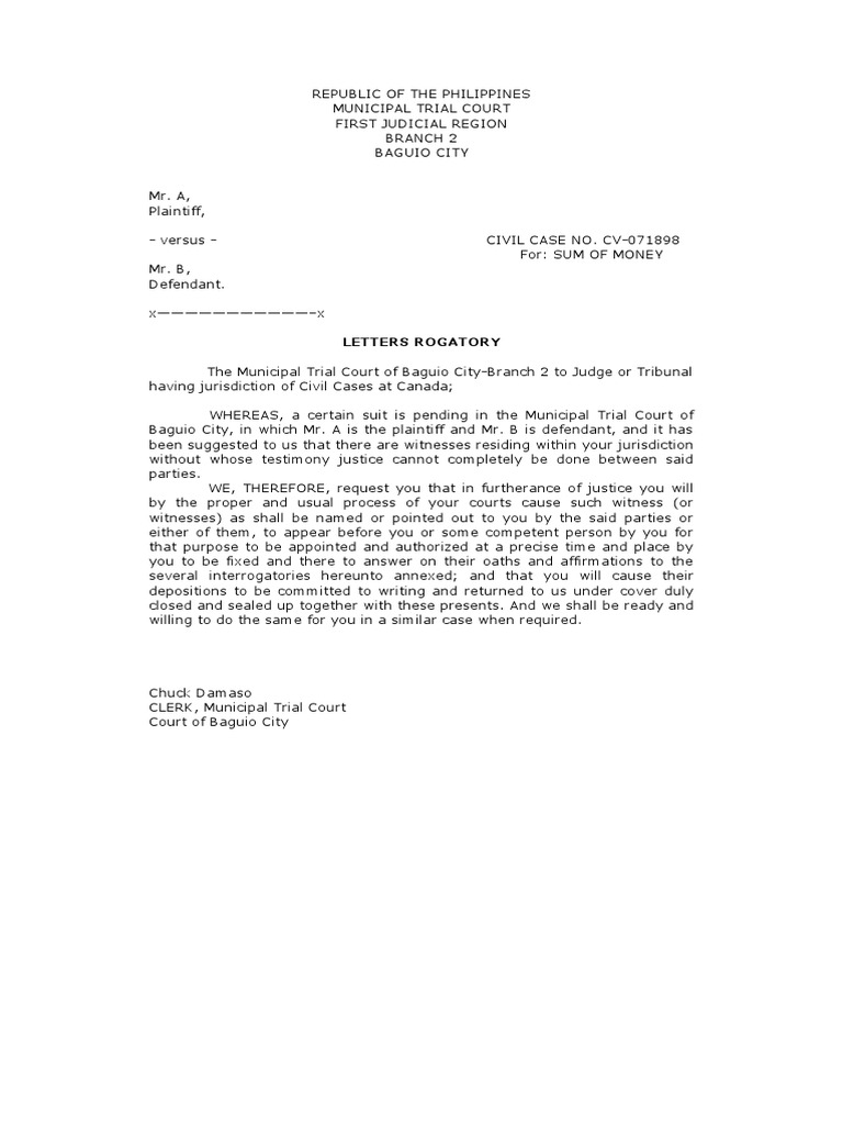 sample letter to judge