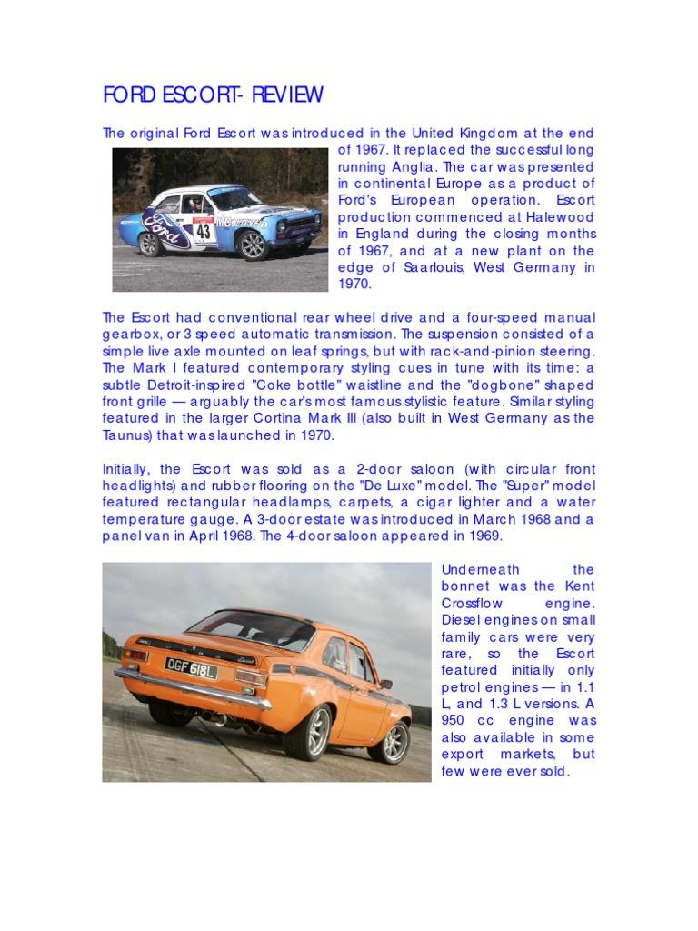 Ford Escort Review Car Body Styles Sedans