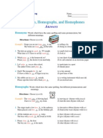 Homonyms, Homographs, Homophones - Answers